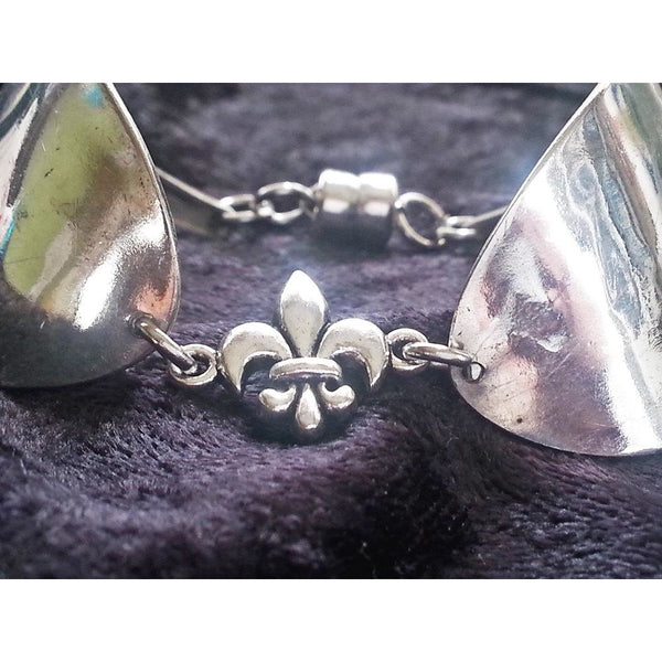 Spoon cuff, spoon bracelet, silver cuff, Fleur de lis,mardi gras,spoon bowl,New Orleans jewelry, Louisiana, NOLA, Louisville, flower of life