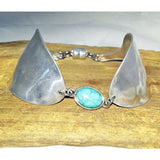 Turquoise jewelry, spoon cuff, spoon bracelet, turquoise center, upcycled silverware bracelet, gift box