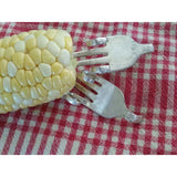 Sweet Corn holders (1 pair) sweet corn utensils, corn on the cob, upcycled silverware art, twisted forks