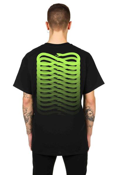 T-Shirt Black Ribbs Green Fluo