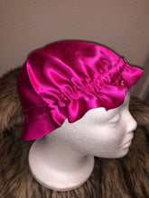 Load image into Gallery viewer, 100% Silk Baby Bonnet - Fuchsia/Silver