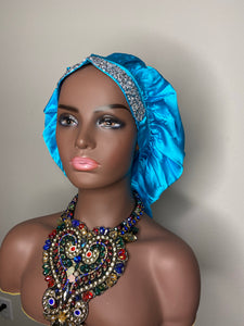 100% Silk BLING JUMBO- Hair Bonnet (Teal)