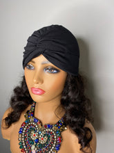 Load image into Gallery viewer, Black Turban w/100% SILK Lining
