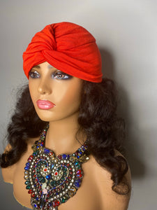 Red Turban with 100% SILK Lining