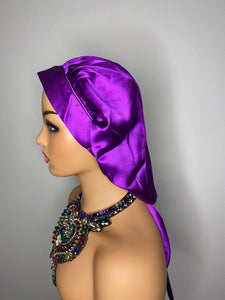 100% Silk JUMBO Hair Bonnet - Purple