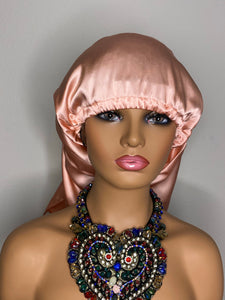 100% Silk Wig/Braid Bonnet - Rose Gold