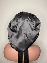 Load image into Gallery viewer, 100% Silk BLING JUMBO- Hair Bonnet (Black)