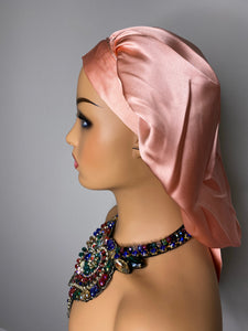 100% Silk JUMBO Hair Bonnet - Rose Gold