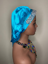 Load image into Gallery viewer, 100% Silk BLING JUMBO- Hair Bonnet (Teal)