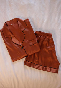 Metallic Copper Pajama Short Set