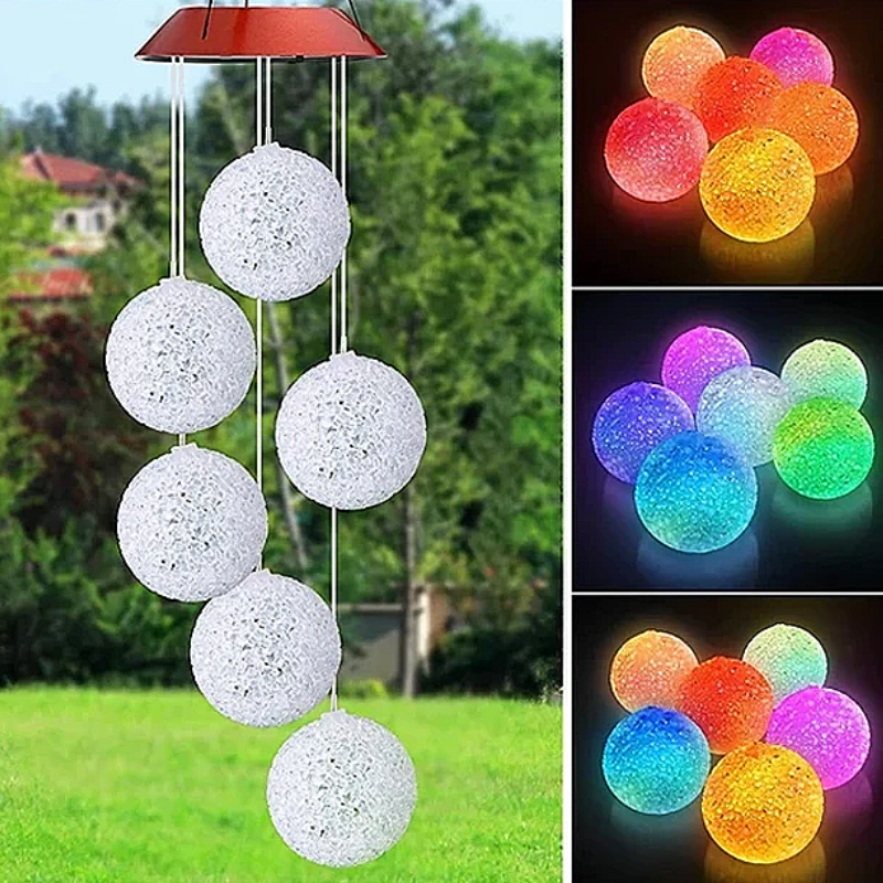 Solar Powered Crystal Ball Wind Chimes