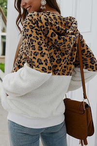 Chic Leopard Zip-Up Patchwork Hooded Coat(5 Colors)
