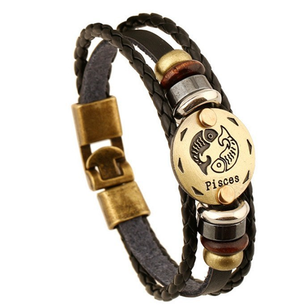 Zodiac Signs Black Gallstone Leather Bracelet - Florence Scovel - 7