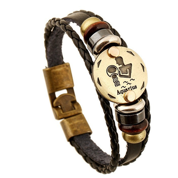 Zodiac Signs Black Gallstone Leather Bracelet - Florence Scovel - 8