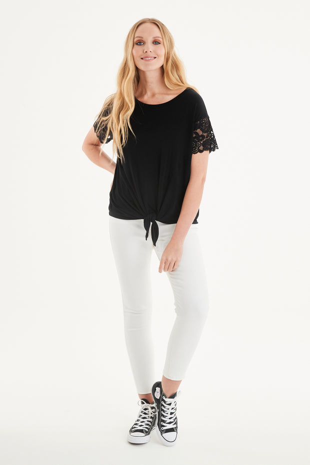 Lisa Lace Sleeve Tie Top