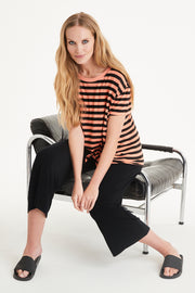 Honor Stripe Tie Front Tee