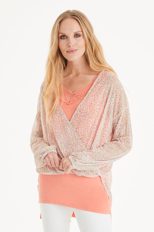 Catalina Flower Chiffon Wrap Top