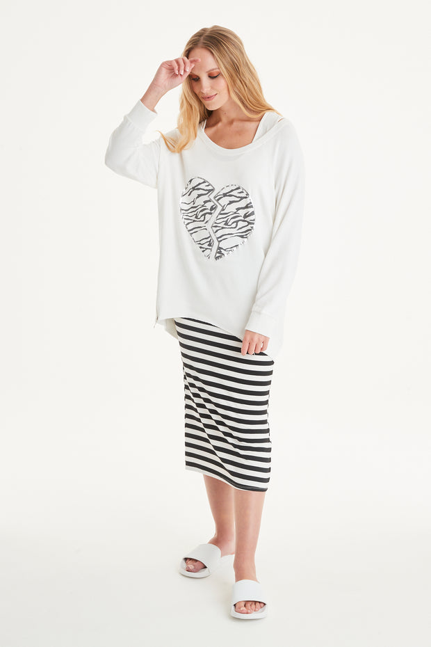 Zebra Heart Print Sweat