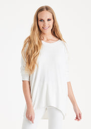 Kammy Wide Neck Curved Hem  Top