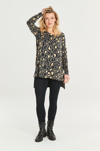 Gloria Animal Print Longline Top