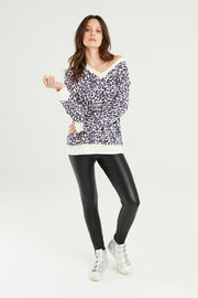 Sundae Tee Leona Animal Deep V Print Top