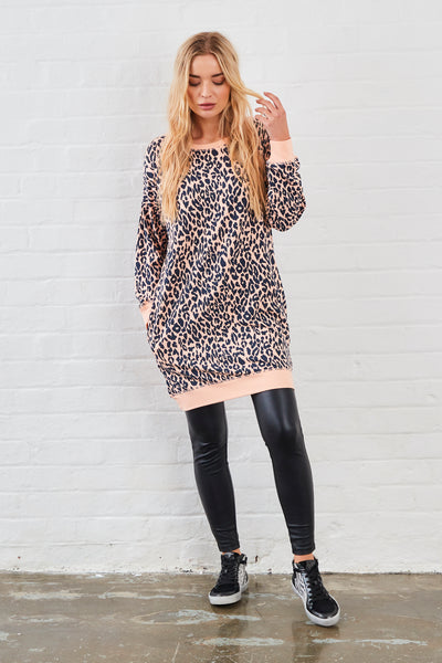 Sundae Tee Kendra Animal Print Long Sweat