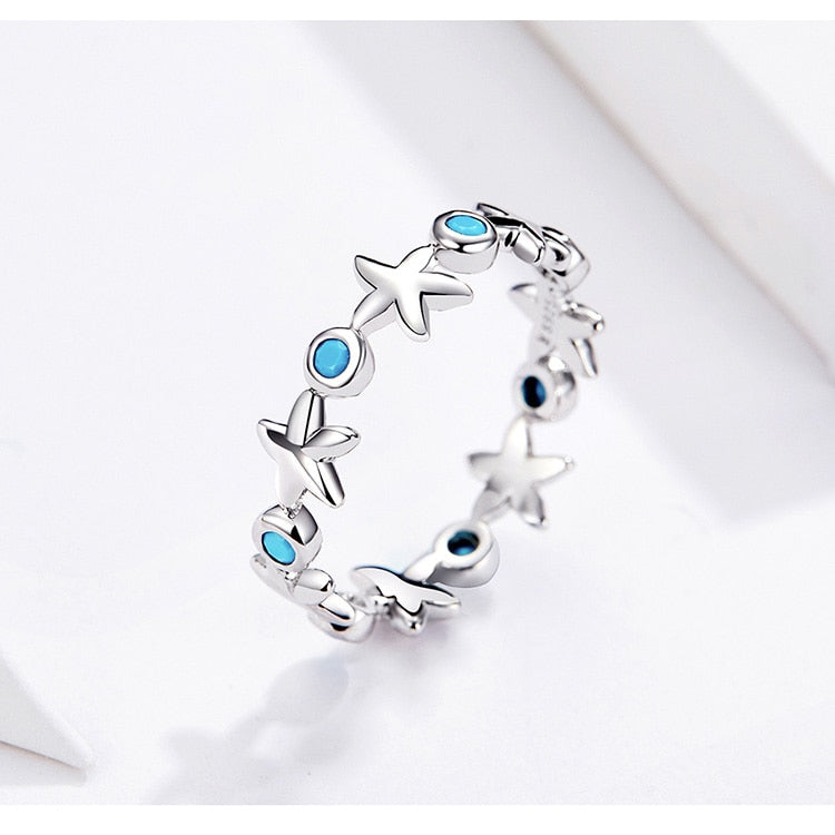 Sterling Silver Ocean Blue Starfish Ring