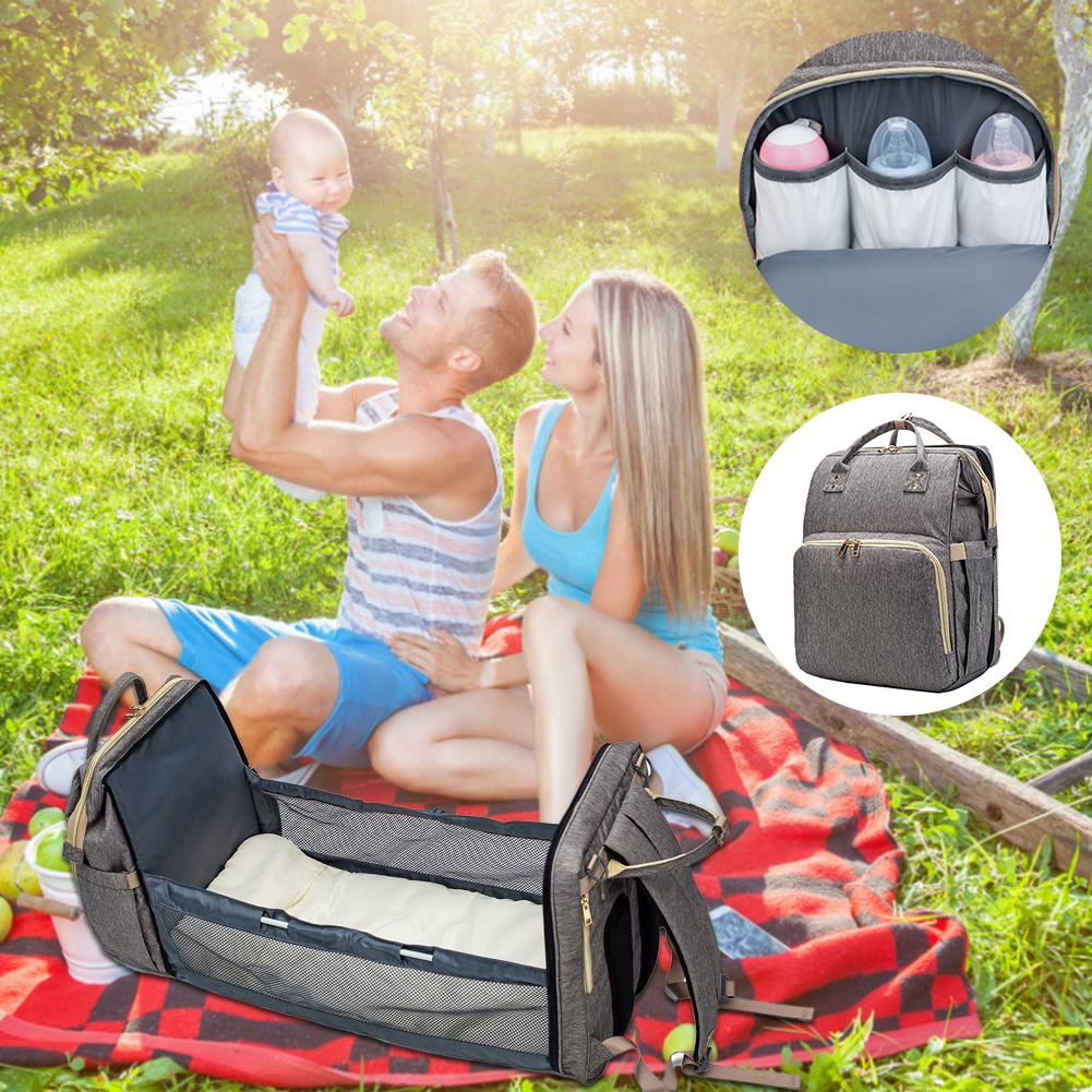 Crib Diaper Bag - Convertible Diaper Backpack with Portable Crib
