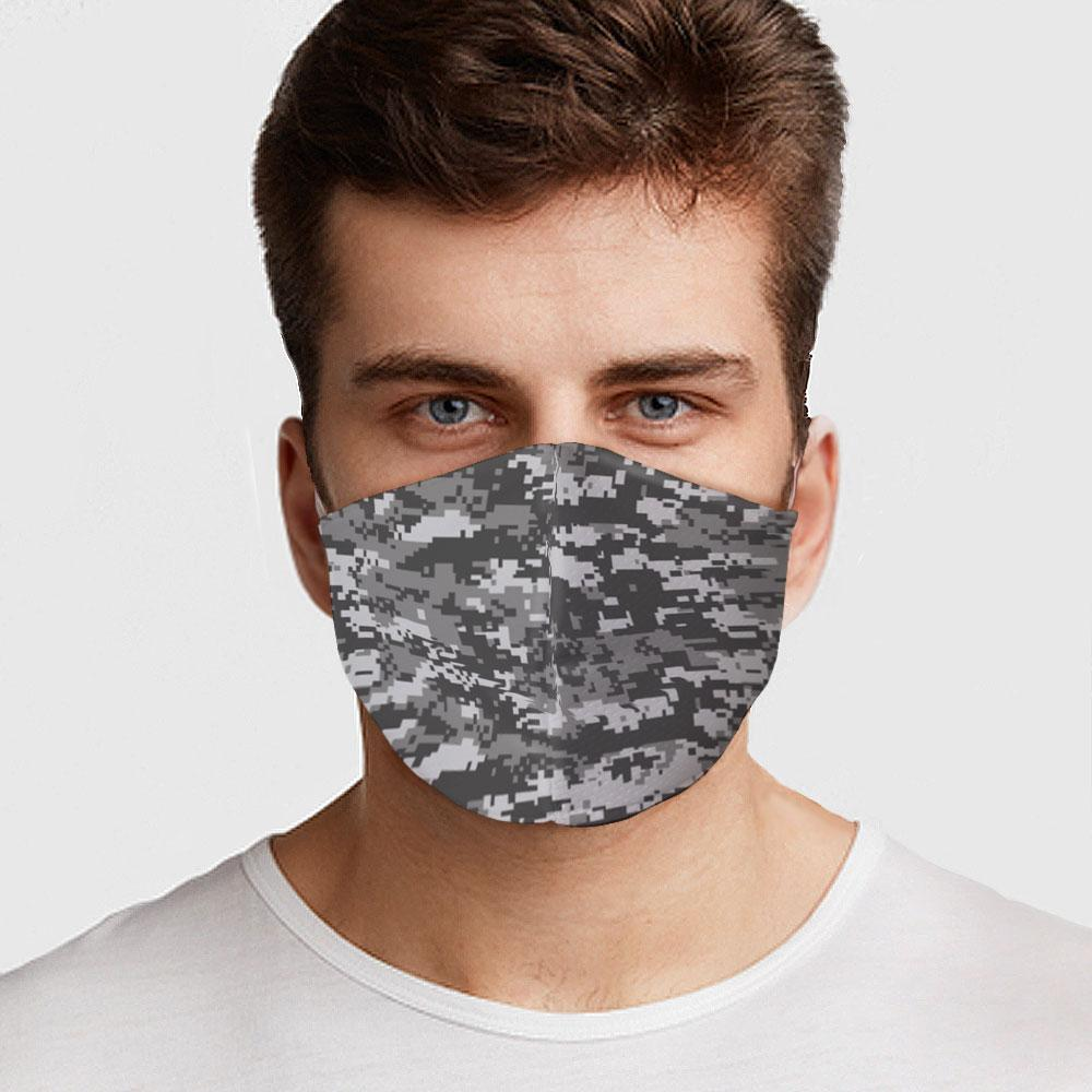 Gray Digital Camo Face Cover