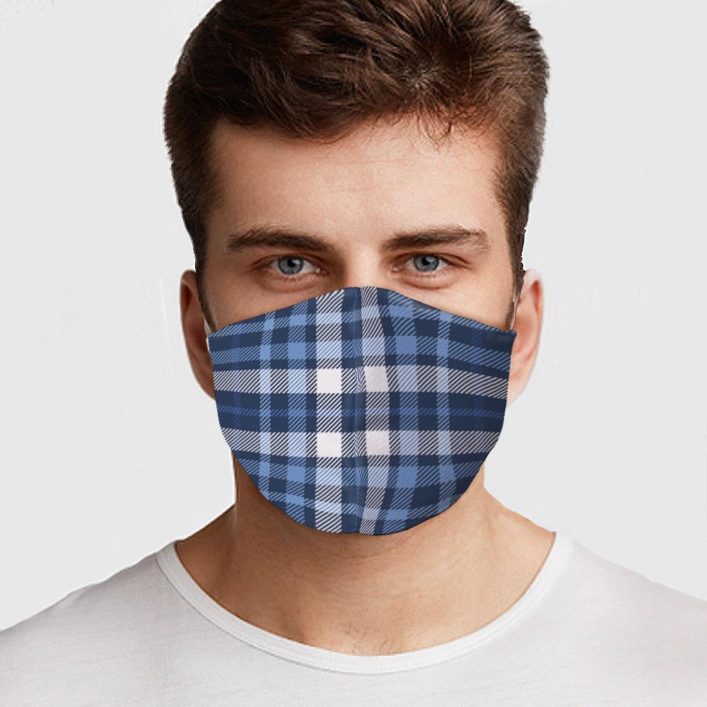 Blue White Plaid Face Cover