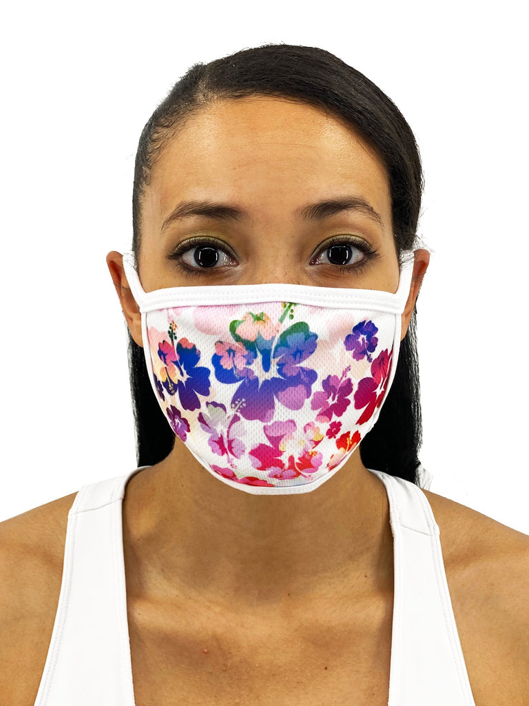 Colorful Hibiscus Face Mask With Filter Pocket
