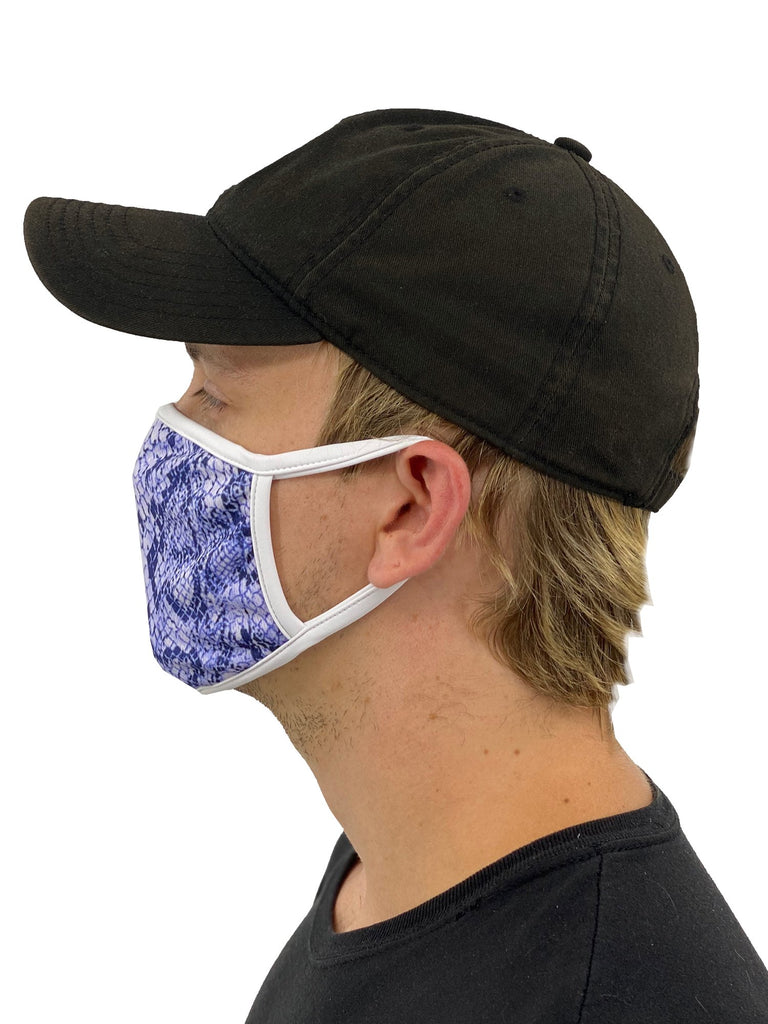 Blue Snakeskin Face Mask With Filter Pocket