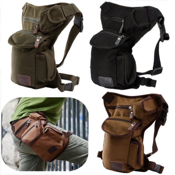 Men Outdoor Canvas Drop Waist Leg Bags Waist Pack Bag Running Belt Bicycle and Motorcycle