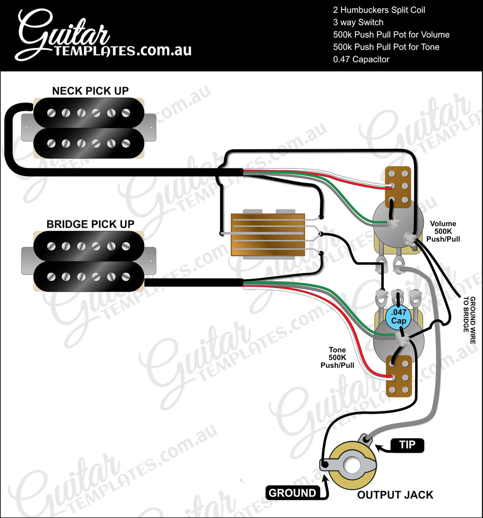 Dual Humbuckers with Split Coils 1 Volume, 1 Tone and 3 way switch diagram