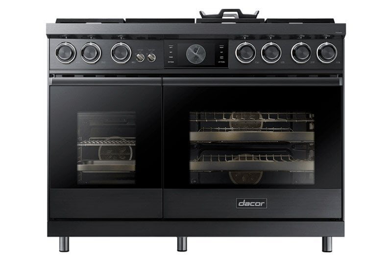"Load image into Gallery viewer, Dacor DOP48M96DLS 48"" Pro Dual-Fuel Steam Range, Silver Stainless Steel, Natural Gas"