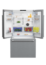 "Load image into Gallery viewer, Beko BFFD3624SS 36"" French Three-Door Stainless Steel Refrigerator With Auto Ice Maker, Water Dispenser"