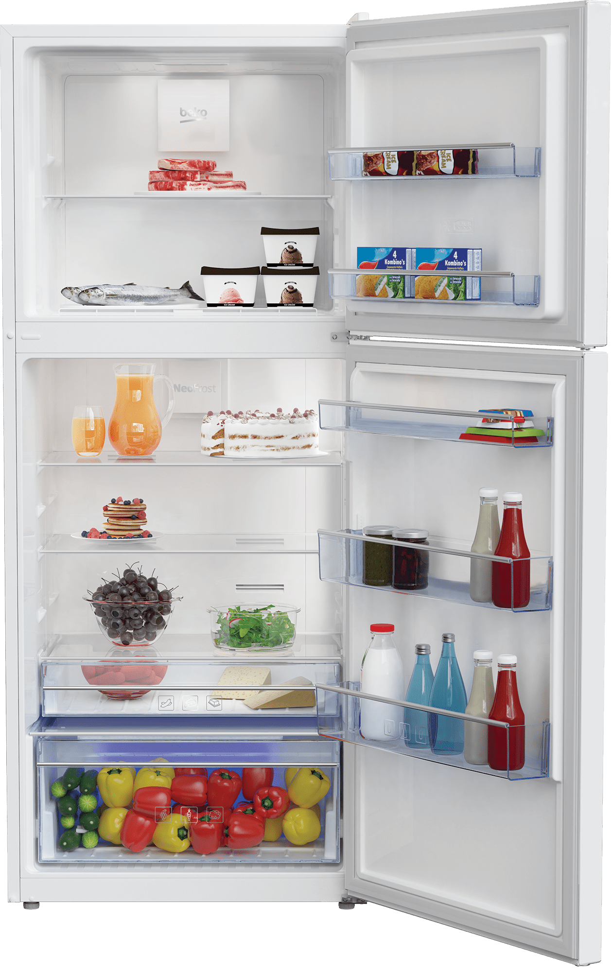 "Load image into Gallery viewer, Beko BFTF2716WH 28"" Freezer Top White Refrigerator"