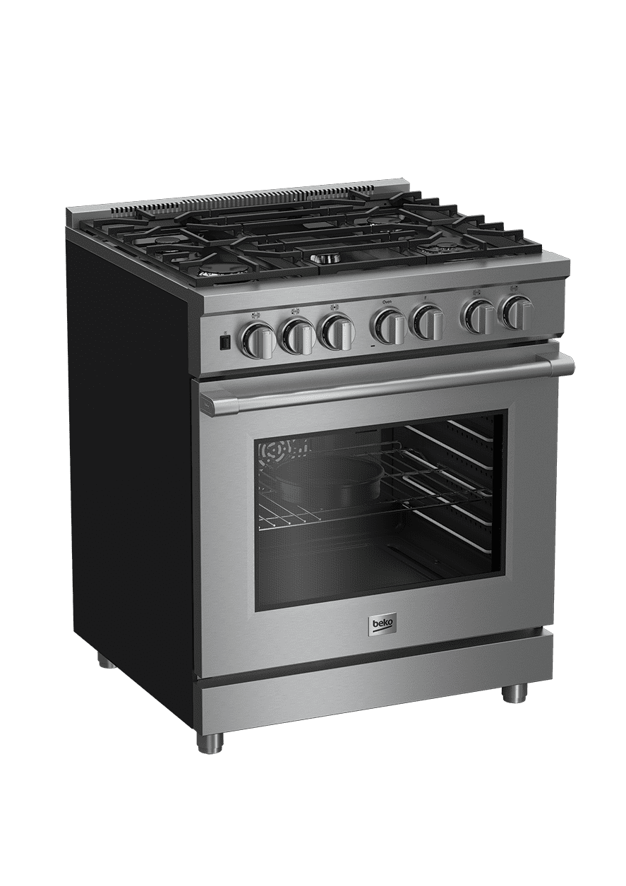 "Load image into Gallery viewer, Beko PRDF34550SS 30"" Stainless Steel Pro-Style Dual Fuel Range"