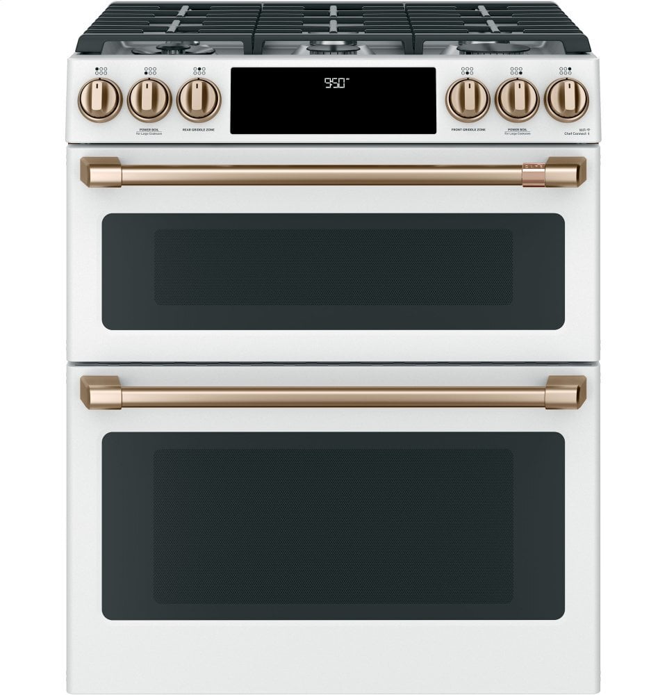 "Load image into Gallery viewer, Cafe C2S950P4MW2 Café 30"" Smart Slide-In, Front-Control, Dual-Fuel, Double-Oven Range With Convection"