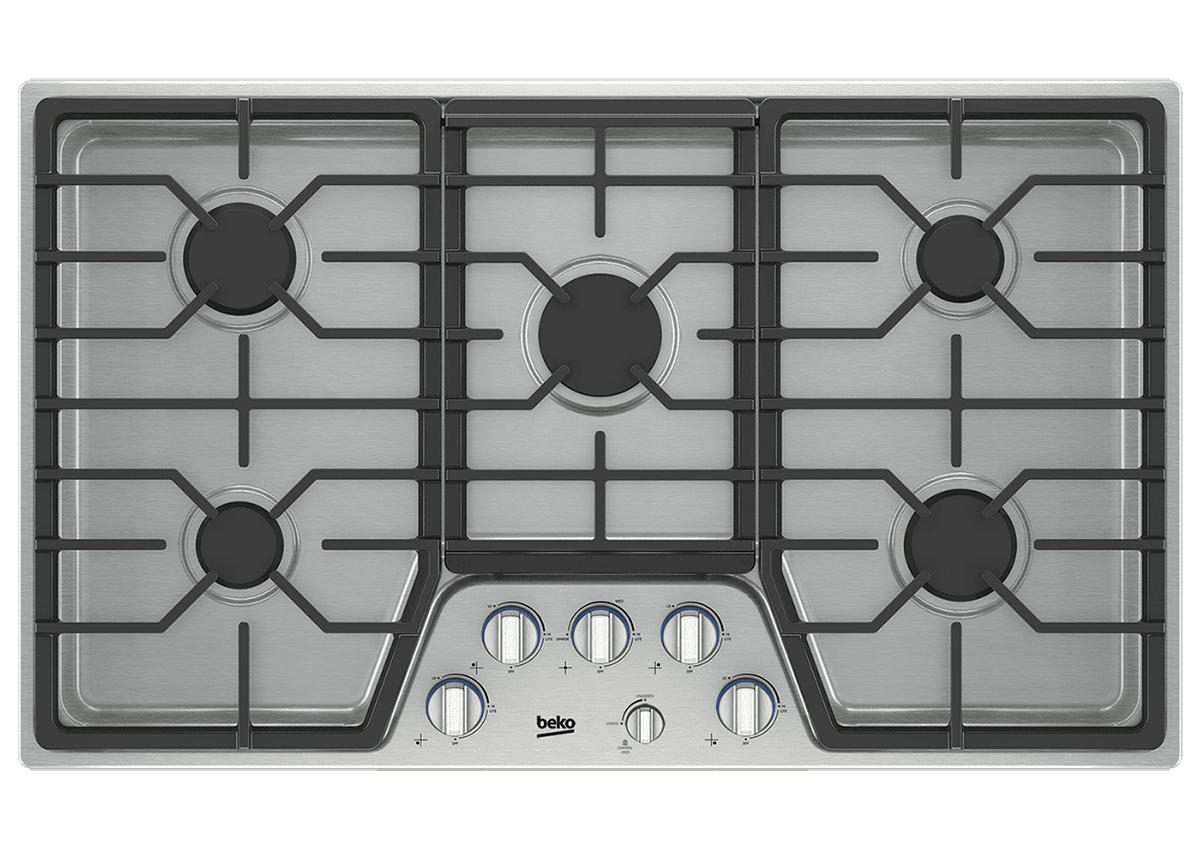 "Load image into Gallery viewer, Beko BCTG36500SS 36"" Built-In Gas Cooktop With 5 Burners"