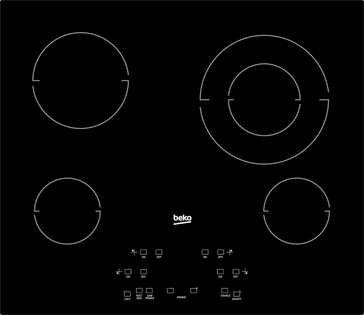 "Load image into Gallery viewer, Beko ECTM24102 24"" Built-In Electric Cooktop With 4 Burners And Touch Control"