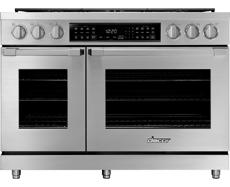"Load image into Gallery viewer, Dacor HDPR48SLP 48"" Dual Fuel Pro Range, Silver Stainless Steel, Liquid Propane"