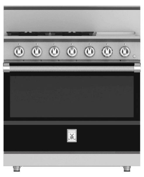 "Load image into Gallery viewer, Hestan KRG364GDNGBK 36"" 4-Burner All Gas Range With 12"" Griddle - Natural Gas - Black / Stealth"