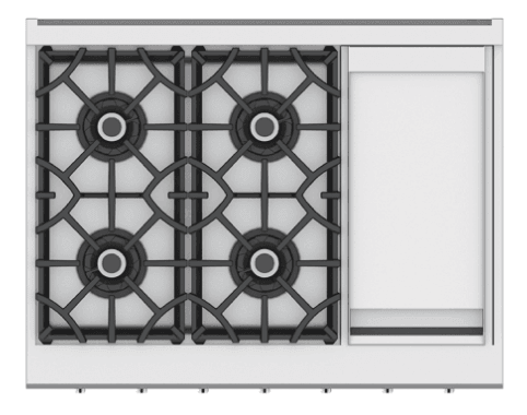 "Load image into Gallery viewer, Hestan KRT364GDNGGR 36"" 4-Burner Rangetop With 12"" Griddle - Natural Gas - Green / Grove"