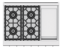 "Load image into Gallery viewer, Hestan KRT364GDLPBG 36"" 4-Burner Rangetop With 12"" Griddle - Liquid Propane - Burgundy / Tin Roof"