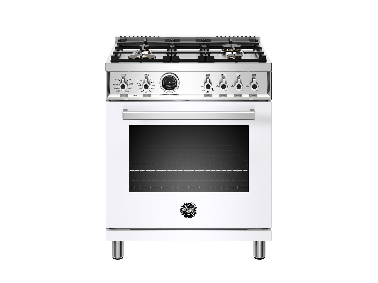 Load image into Gallery viewer, Bertazzoni PROF304DFSBIT 30 Inch Dual Fuel Range, 4 Brass Burner, Electric Self-Clean Oven Bianco