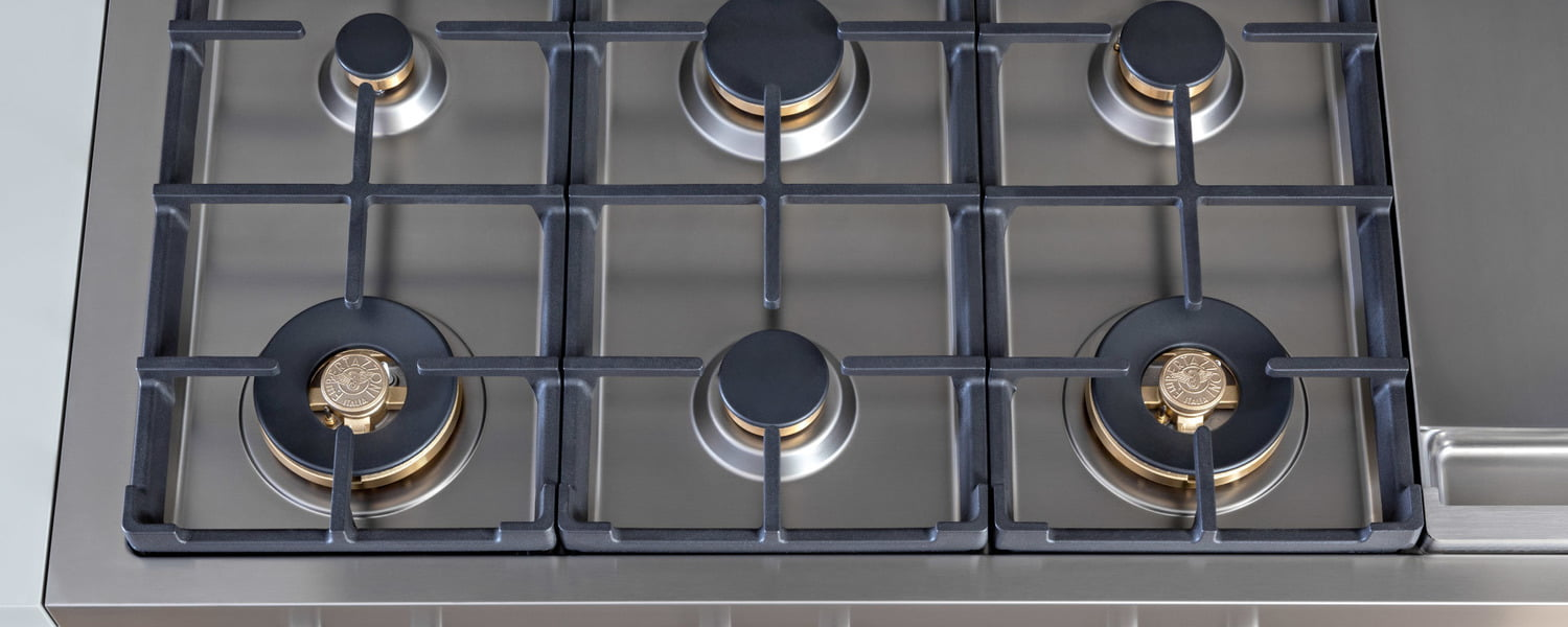 Load image into Gallery viewer, Bertazzoni PROF486GRTBXT 48 Gas Rangetop 6 Brass Burner + Electric Griddle Stainless Steel