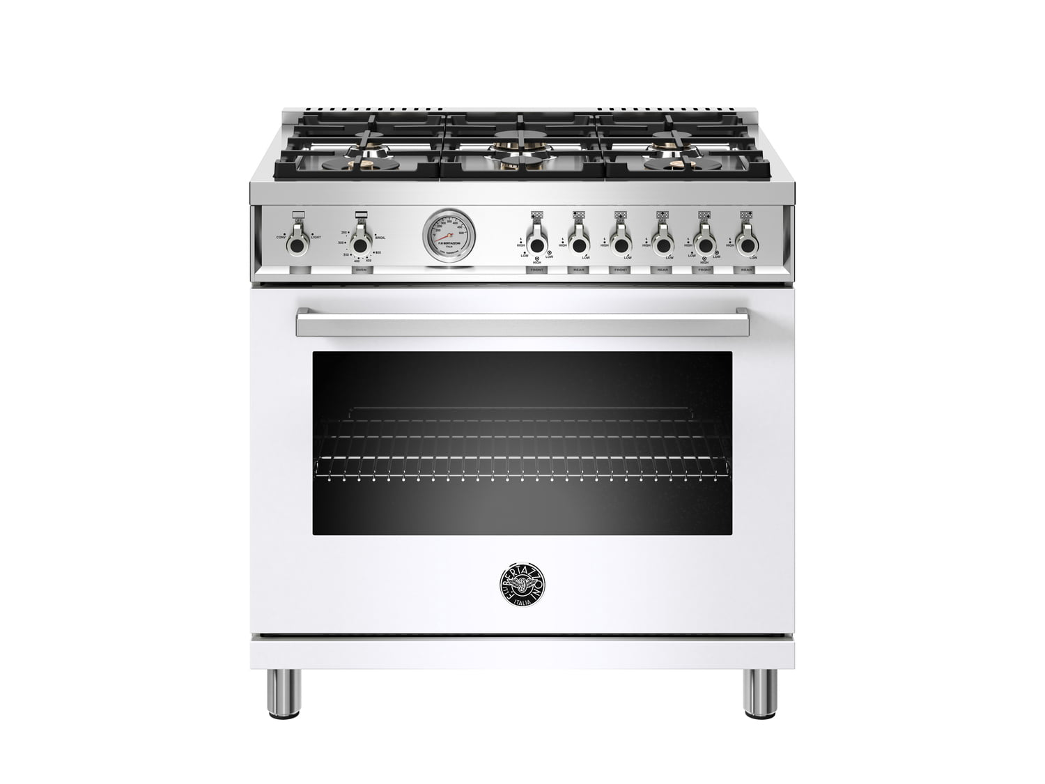 Load image into Gallery viewer, Bertazzoni PROF366GASBIT 36 Inch All Gas Range, 6 Brass Burners Bianco
