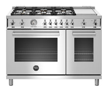 "Load image into Gallery viewer, Bertazzoni PROF486GGASXTLP 48"" Professional Series Range - Gas Oven - 6 Brass Burners + Griddle - Lp Version"