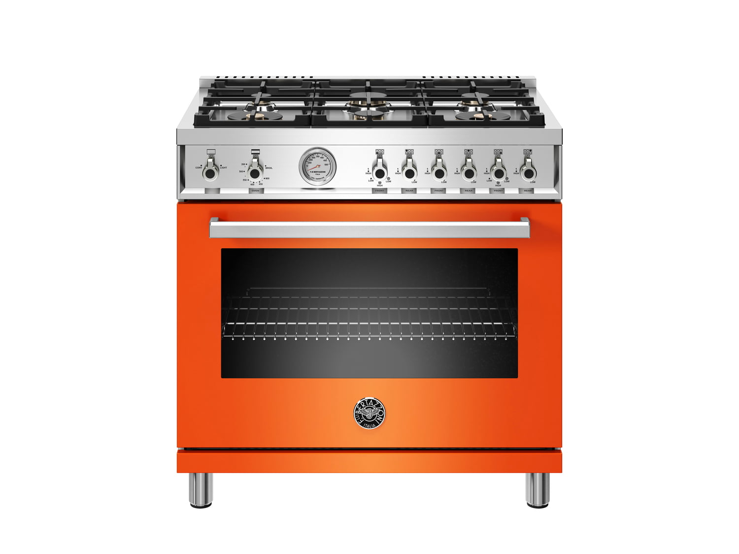 Load image into Gallery viewer, Bertazzoni PROF366GASART 36 Inch All Gas Range, 6 Brass Burners Arancio